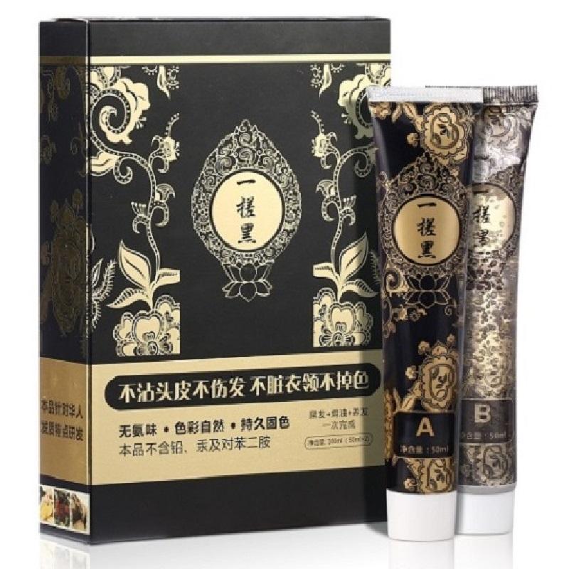 楚颜 一搓黑纯植物染发剂霜 纯天然自然黑色 一洗黑染发膏