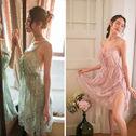 维多利亚维密妮奥秘性感睡衣女夏情趣内衣蕾丝吊带透明镂空骚睡裙
