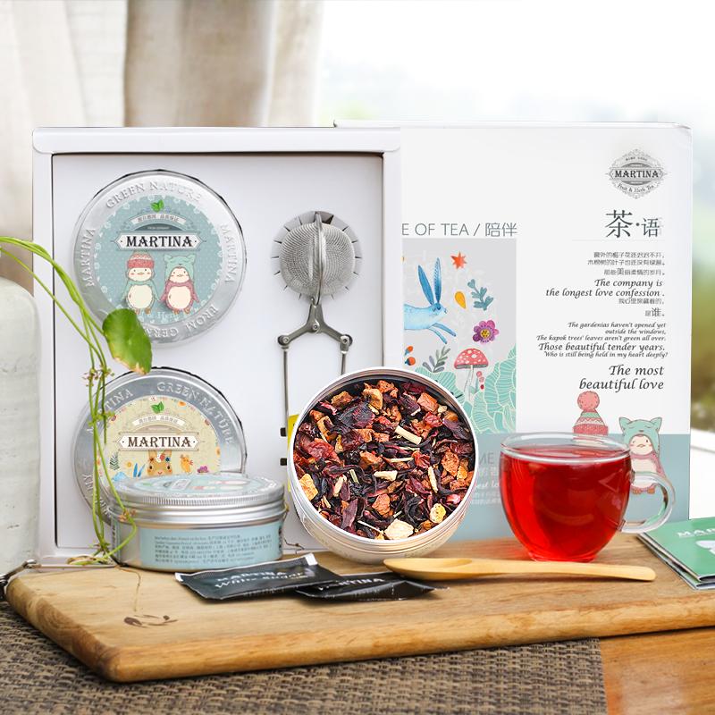 母亲节礼物花茶礼盒 伴手礼酸甜洛神水果茶文艺包装创意2罐组合