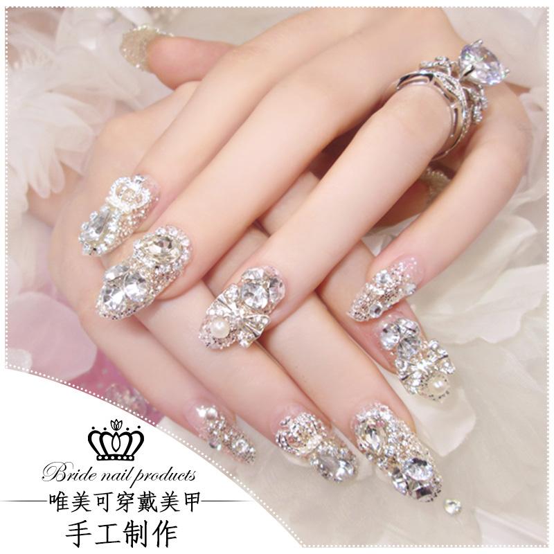 新娘美甲成品穿戴式假指甲拆卸甲片结婚孕妇贴水钻婚纱照婚甲贴片