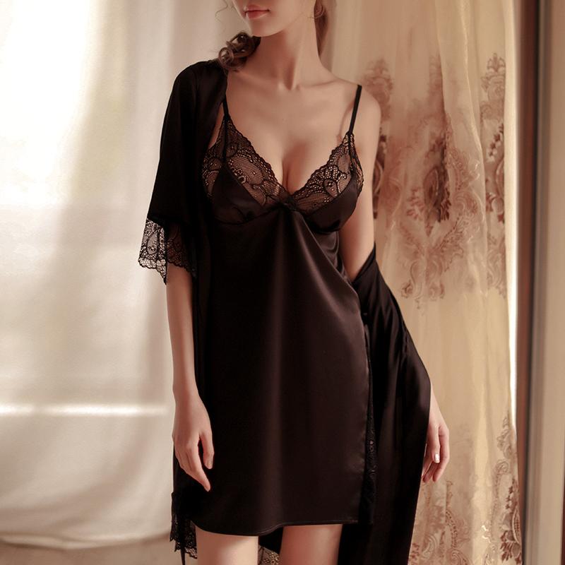 性感睡衣女两件套真丝睡裙开叉透明蕾丝诱惑薄款蚕丝吊带私房睡袍