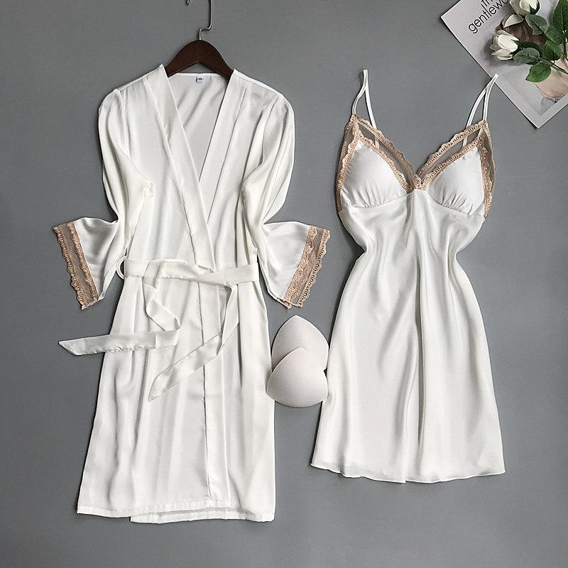 新款蕾丝带胸垫长袖睡袍女真丝性感吊带睡裙两件套家居服睡衣春秋