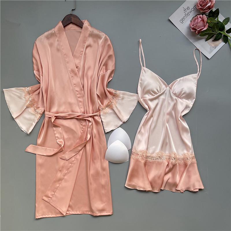 性感真丝睡衣女带胸垫夏蕾丝镂空睡裙睡袍长袖诱惑两件套装家居服