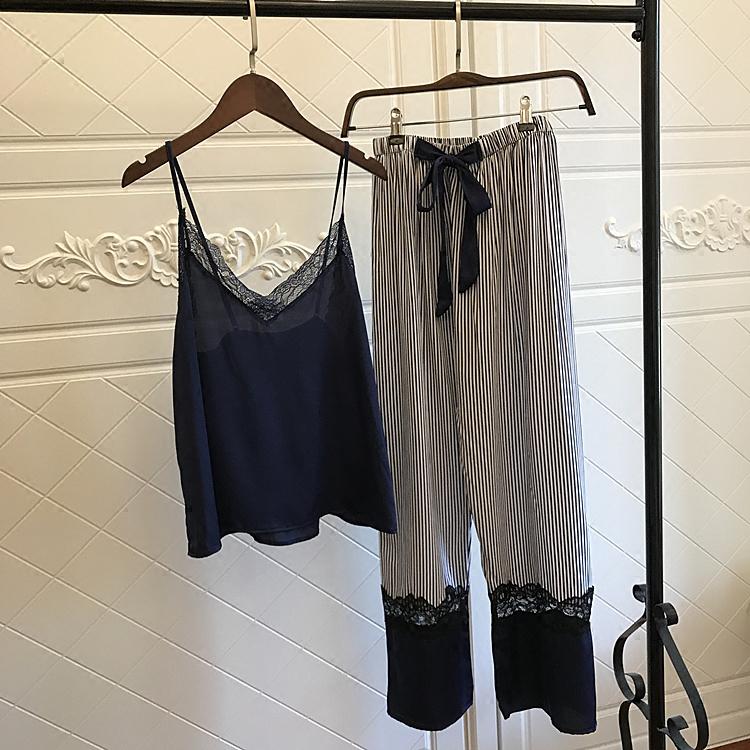 真丝睡衣女休闲V领性感吊带蕾丝条纹长裤两件套套装春夏诱惑学生