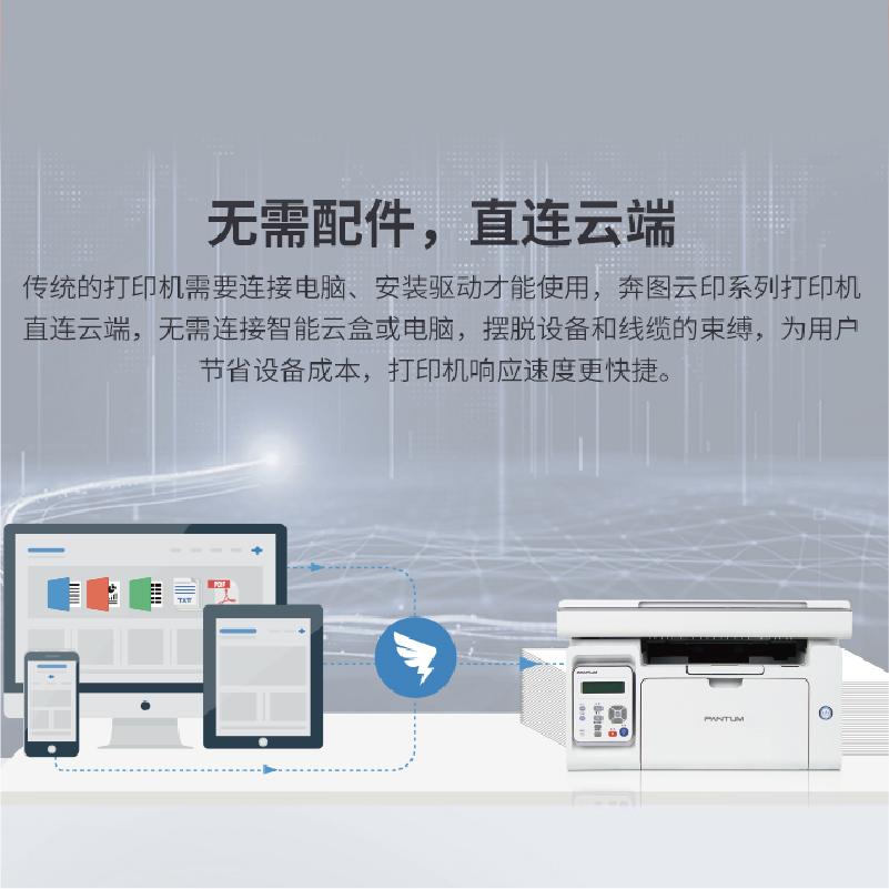 奔图M6518NW黑白激光打印机商用钉钉远程云打印复印扫描多功能a4高速打印商务办公