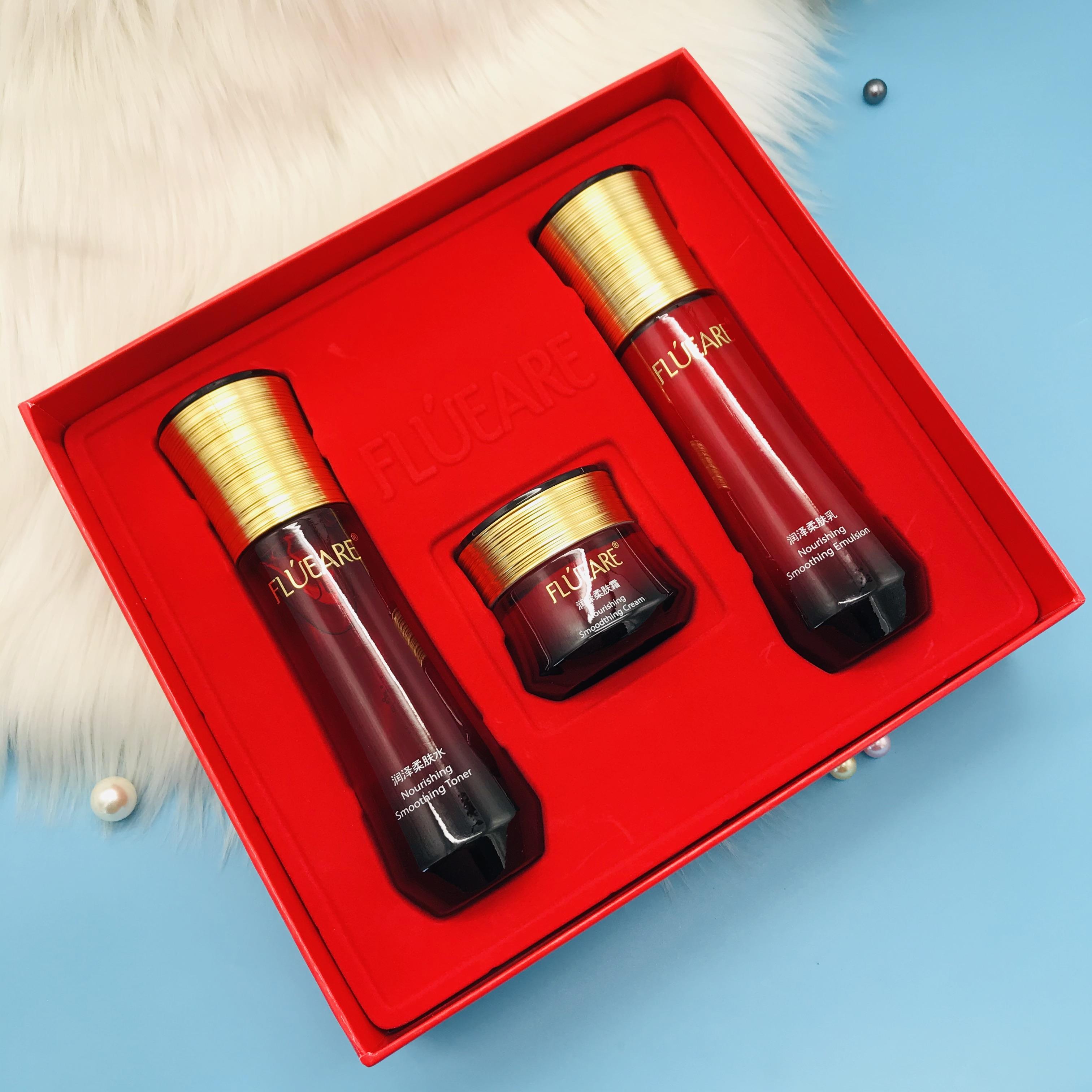 益盛汉参化妆品专柜正品菲露爱尔润泽柔肤三件套保湿滋润修护礼盒