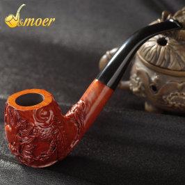 摩尔实木烟斗石楠木烟丝斗收藏手工雕刻男士烟丝过滤老式烟斗