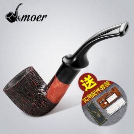 摩尔石楠木烟斗手工过滤烟斗老式烟丝斗弯式实木迷你便携式JS963
