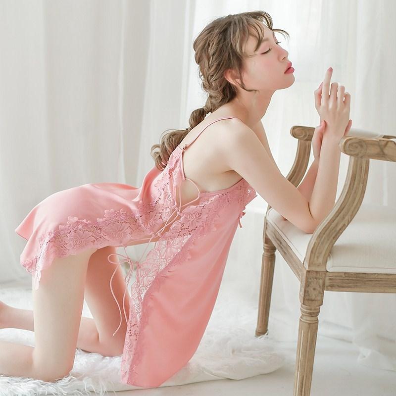 维多利亚维密性感夏季冰丝情趣睡衣女火辣免脱蕾丝吊带挑逗睡裙骚