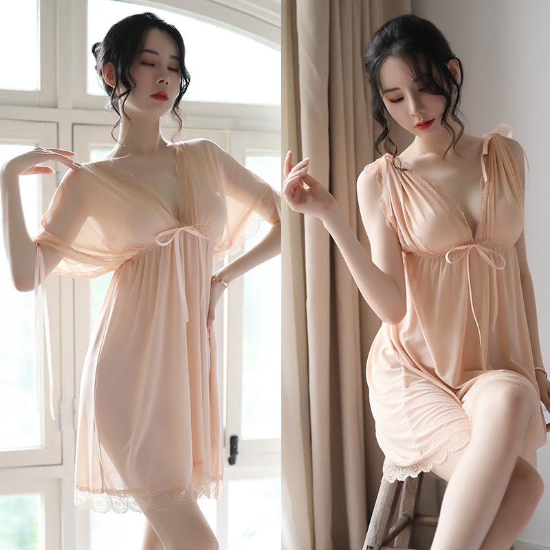 维多利亚维密性感睡衣透明薄款蕾丝大码短袖睡裙女情趣激情内衣骚