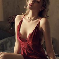 花朝月夕 欧美深V丝绒露背蕾丝拼接性感透视情趣吊带睡衣裙家居服