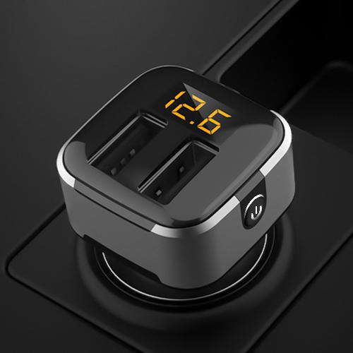 现代车载双USB充电器带开关快充一拖二汽车用点烟器多功能车充头