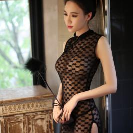 情趣内衣性感古典蕾丝透明长款旗袍制服空姐透视包臀长裙睡裙套装