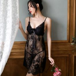 透明性感镂空情趣诱惑蕾丝睡衣女夏季薄款小胸聚拢吊带胸垫睡裙骚