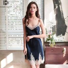 奢华女士夏季真丝睡衣女吊带蕾丝性感丝绸睡裙