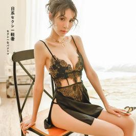 维密性感睡衣女情趣骚蕾丝深V露背吊带透明激情诱惑薄款冰丝短裙