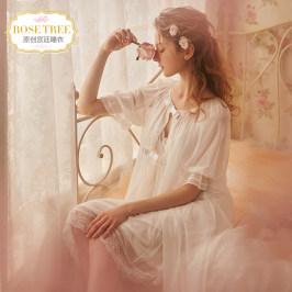 复古宫廷睡衣新娘晨袍感蕾丝薄纱公主睡袍