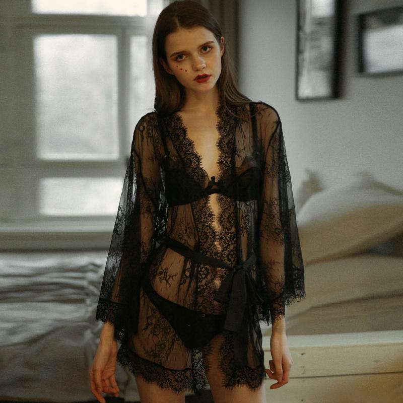 性感睡衣系带睡袍蕾丝透明薄纱透视外袍浴袍女