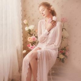 RoseTree蕾丝性感睡袍女春季薄款宫廷风复古睡衣新娘晨袍薄纱浴袍