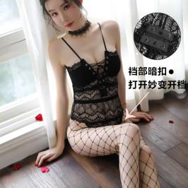 性感蕾丝肚兜式情趣内衣大码吊带小胸聚拢激情透视网纱女连体马甲