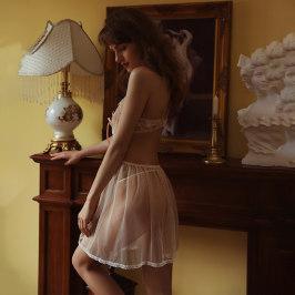 亮片花瓣睡裙睡衣花纱款吊带薄款透明蕾丝肚兜露背火辣诱惑骚女夏