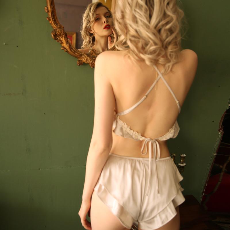 柠檬太太 性感睡衣女春夏仿真丝露背诱惑吊带肚兜情趣家居服套装