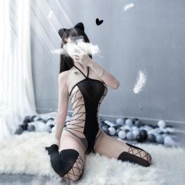 超薄开档性感交叉连身袜吊带绑带挂脖露乳情趣内衣透明连体丝袜女