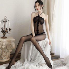 万花局新款开裆丝袜透视网纱连体衣挂脖连身袜情趣内衣紧身连身袜