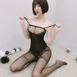 黑色女开档性感连身袜情趣内衣挑逗小胸吊带透明全身连体丝袜诱惑