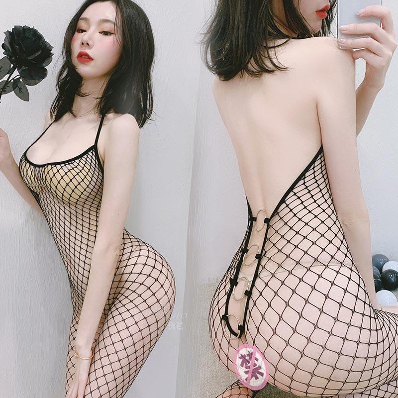 性感情趣丝袜内衣透视诱惑开档透明连体网袜吊带露背中网连身袜女