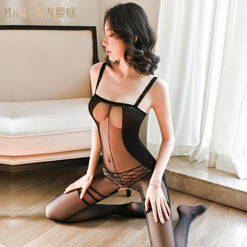 全身火辣性感吊带连身丝袜情趣透视诱惑开档免脱提花连裤袜床上薄