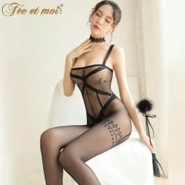 情趣内衣吊带透视装开裆免脱连身袜性感骚制服诱惑激情套装女