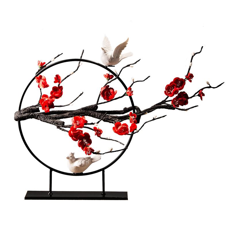 新中式家居客厅玄关禅意软装饰品创意摆设家具电视柜酒柜铁艺摆件