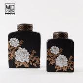 新中式家具摆件架子小展示架简约古典白玫瑰黑陶瓷罐子花瓶装饰品
