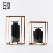 新中式文创黑陶瓷储物罐带盖摆件装饰品轻奢高档酒店会所将军罐子