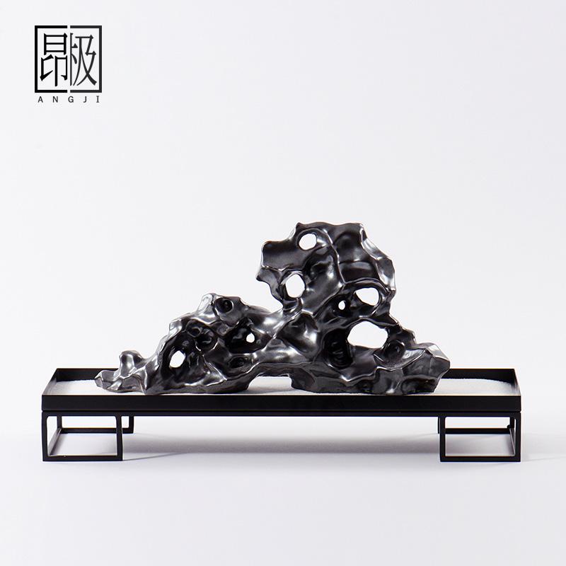 新中式黑陶瓷假山摆件创意客厅桌面工艺品装饰电视柜博古架摆设品