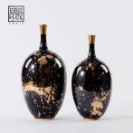 轻奢黑陶瓷金色斑点摆件软装饰品样板房客厅酒店会所家居桌面装饰