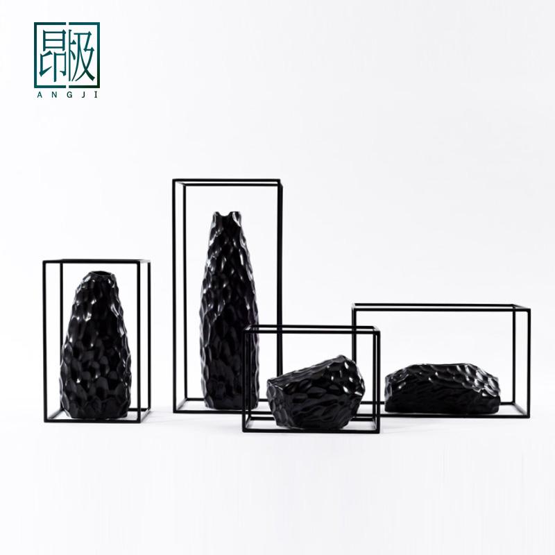 四件组合新中式黑陶瓷石头花瓶样板间酒店会所玄关客厅电视柜摆件
