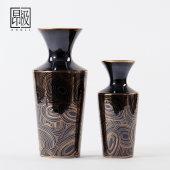 欧式古典家居复古黑陶瓷花瓶摆件电视柜别墅玄关客厅酒柜软装饰品