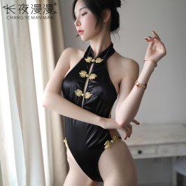 情趣内衣女露背挂脖连身性感旗袍制服诱惑复古修身惹火连体衣