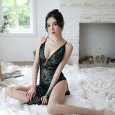 欧美情趣内衣女式性感孔雀刺绣修身露背旗袍制服诱惑外贸睡衣套装