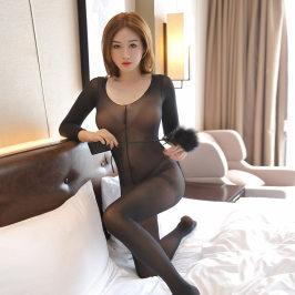 情趣开档连身衣打底全身衣薄款内衣长袖连体衣性感黑丝袜男女袜